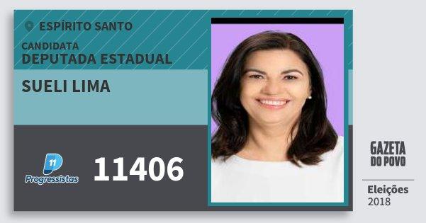 Santinho Sueli Lima 11406 (PP) Deputada Estadual | Espírito Santo | Eleições 2018