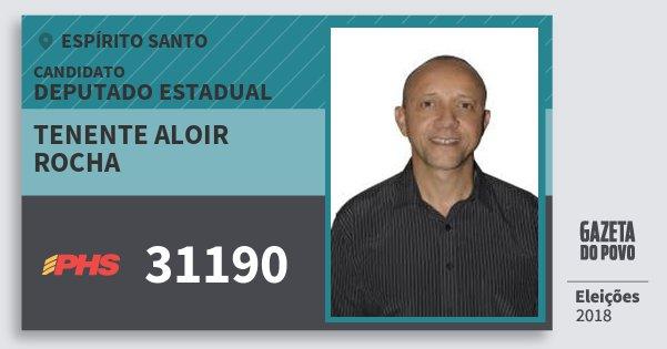 Santinho Tenente Aloir Rocha 31190 (PHS) Deputado Estadual | Espírito Santo | Eleições 2018