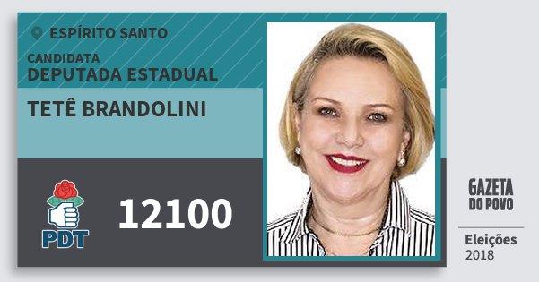 Santinho Tetê Brandolini 12100 (PDT) Deputada Estadual | Espírito Santo | Eleições 2018