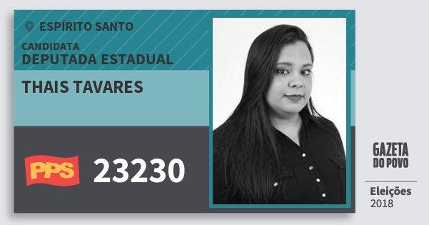 Santinho Thais Tavares 23230 (PPS) Deputada Estadual   Espírito Santo   Eleições 2018