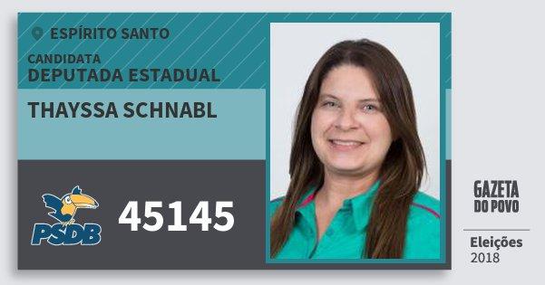 Santinho Thayssa Schnabl 45145 (PSDB) Deputada Estadual | Espírito Santo | Eleições 2018