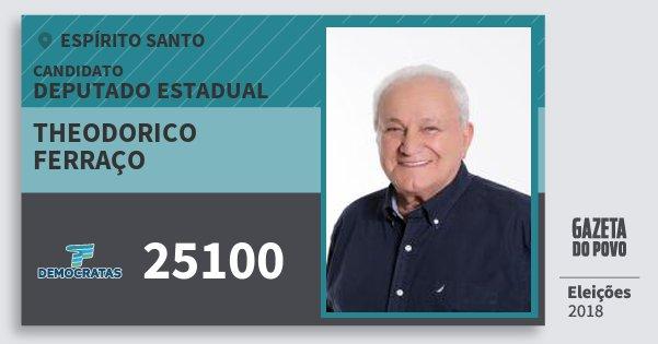 Santinho Theodorico Ferraço 25100 (DEM) Deputado Estadual | Espírito Santo | Eleições 2018