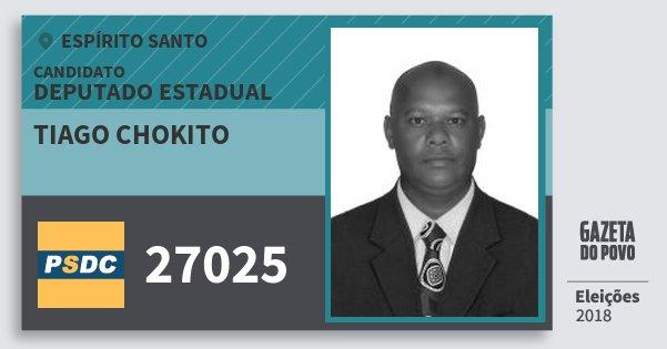 Santinho Tiago Chokito 27025 (DC) Deputado Estadual | Espírito Santo | Eleições 2018