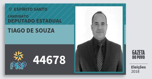 Santinho Tiago de Souza 44678 (PRP) Deputado Estadual | Espírito Santo | Eleições 2018