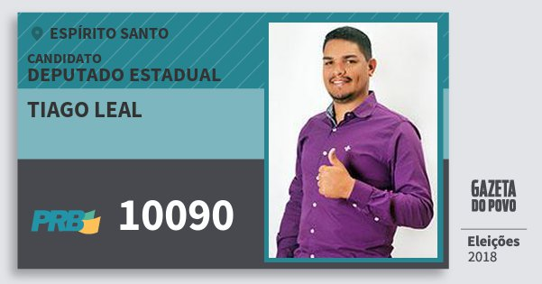 Santinho Tiago Leal 10090 (PRB) Deputado Estadual | Espírito Santo | Eleições 2018