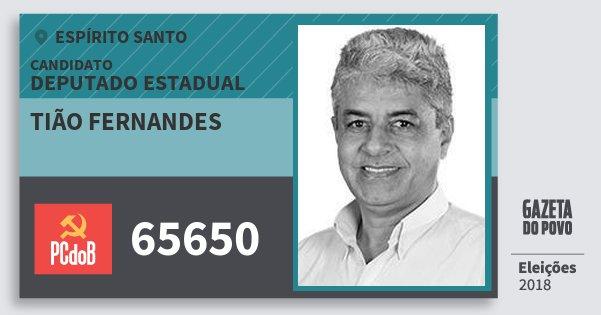 Santinho Tião Fernandes 65650 (PC do B) Deputado Estadual | Espírito Santo | Eleições 2018
