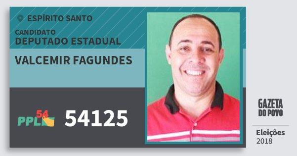 Santinho Valcemir Fagundes 54125 (PPL) Deputado Estadual | Espírito Santo | Eleições 2018