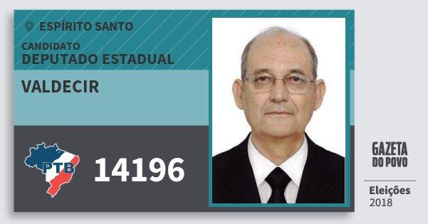 Santinho Valdecir 14196 (PTB) Deputado Estadual | Espírito Santo | Eleições 2018