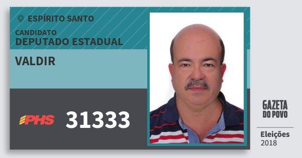 Santinho Valdir 31333 (PHS) Deputado Estadual | Espírito Santo | Eleições 2018