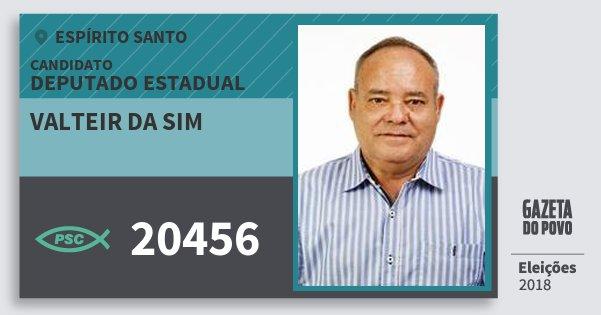 Santinho Valteir da Sim 20456 (PSC) Deputado Estadual | Espírito Santo | Eleições 2018