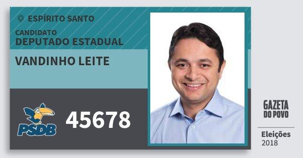 Santinho Vandinho Leite 45678 (PSDB) Deputado Estadual | Espírito Santo | Eleições 2018