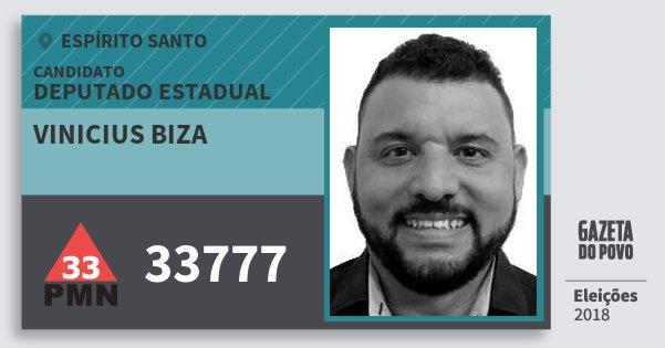 Santinho Vinicius Biza 33777 (PMN) Deputado Estadual | Espírito Santo | Eleições 2018