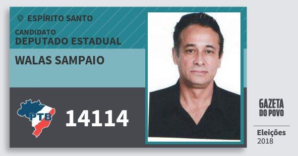 Santinho Walas Sampaio 14114 (PTB) Deputado Estadual | Espírito Santo | Eleições 2018