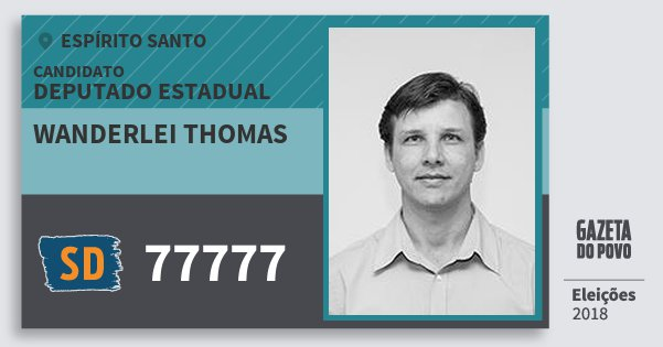 Santinho Wanderlei Thomas 77777 (SOLIDARIEDADE) Deputado Estadual | Espírito Santo | Eleições 2018
