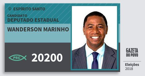 Santinho Wanderson Marinho 20200 (PSC) Deputado Estadual | Espírito Santo | Eleições 2018