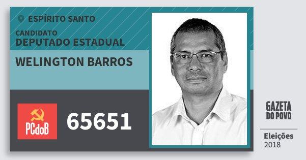 Santinho Welington Barros 65651 (PC do B) Deputado Estadual | Espírito Santo | Eleições 2018