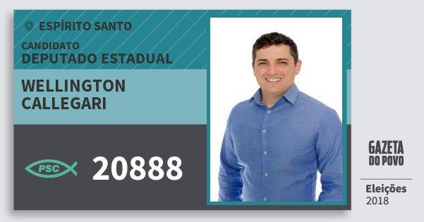 Santinho Wellington Callegari 20888 (PSC) Deputado Estadual | Espírito Santo | Eleições 2018