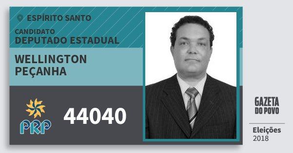 Santinho Wellington Peçanha 44040 (PRP) Deputado Estadual | Espírito Santo | Eleições 2018