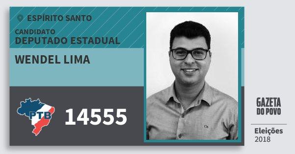 Santinho Wendel Lima 14555 (PTB) Deputado Estadual | Espírito Santo | Eleições 2018