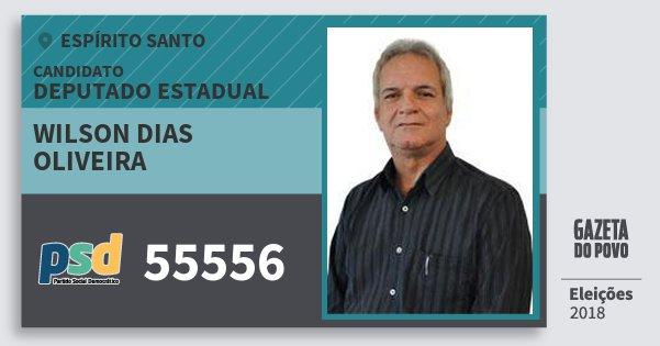 Santinho Wilson Dias Oliveira 55556 (PSD) Deputado Estadual | Espírito Santo | Eleições 2018
