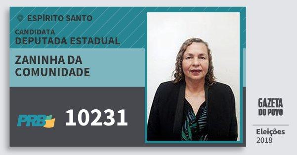 Santinho Zaninha da Comunidade 10231 (PRB) Deputada Estadual | Espírito Santo | Eleições 2018