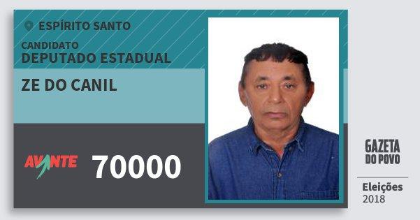 Santinho Ze do Canil 70000 (AVANTE) Deputado Estadual | Espírito Santo | Eleições 2018