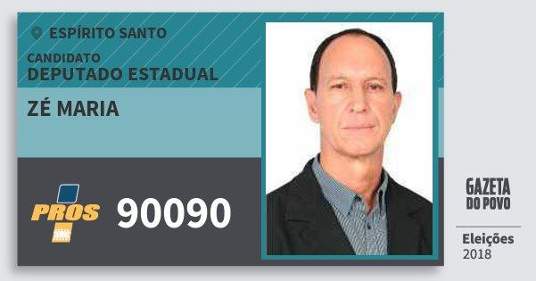 Santinho Zé Maria 90090 (PROS) Deputado Estadual | Espírito Santo | Eleições 2018