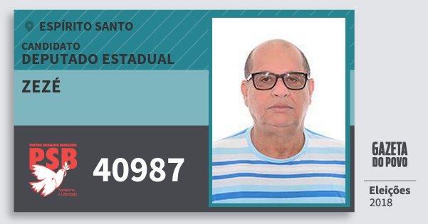 Santinho Zezé 40987 (PSB) Deputado Estadual | Espírito Santo | Eleições 2018
