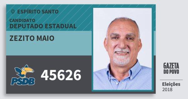 Santinho Zezito Maio 45626 (PSDB) Deputado Estadual | Espírito Santo | Eleições 2018