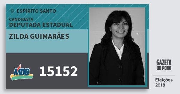 Santinho Zilda Guimarães 15152 (MDB) Deputada Estadual | Espírito Santo | Eleições 2018
