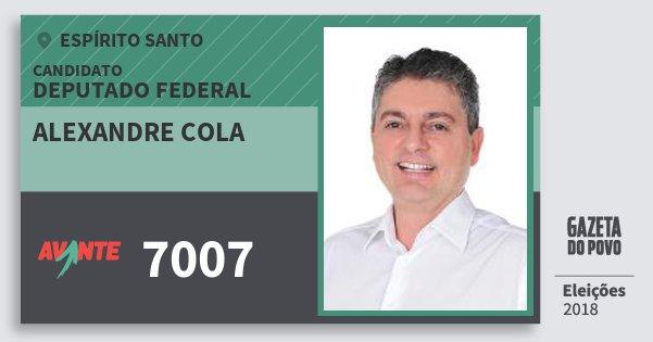 Santinho Alexandre Cola 7007 (AVANTE) Deputado Federal | Espírito Santo | Eleições 2018