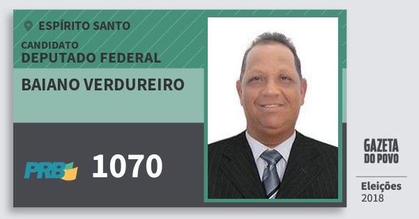 Santinho Baiano Verdureiro 1070 (PRB) Deputado Federal | Espírito Santo | Eleições 2018