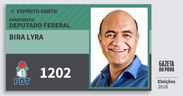 Santinho Bira Lyra 1202 (PDT) Deputado Federal   Espírito Santo   Eleições 2018