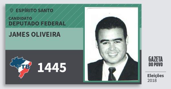 Santinho James Oliveira 1445 (PTB) Deputado Federal | Espírito Santo | Eleições 2018