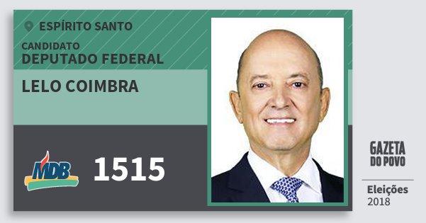 Santinho Lelo Coimbra 1515 (MDB) Deputado Federal   Espírito Santo   Eleições 2018