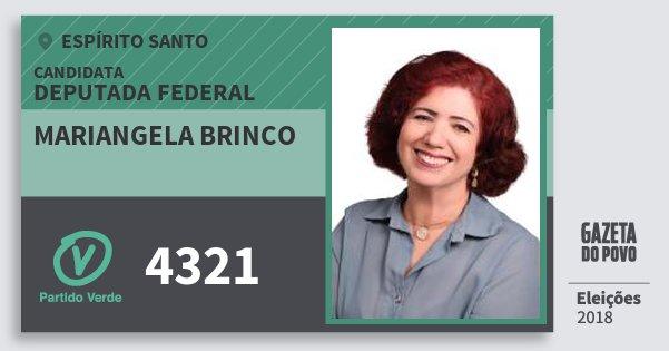 Santinho Mariangela Brinco 4321 (PV) Deputada Federal | Espírito Santo | Eleições 2018