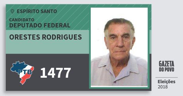 Santinho Orestes Rodrigues 1477 (PTB) Deputado Federal   Espírito Santo   Eleições 2018