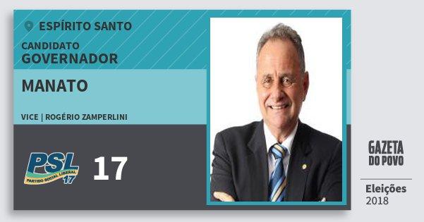 Santinho Manato 17 (PSL) Governador | Espírito Santo | Eleições 2018