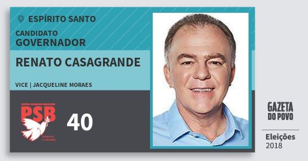 Santinho Renato Casagrande 40 (PSB) Governador | Espírito Santo | Eleições 2018