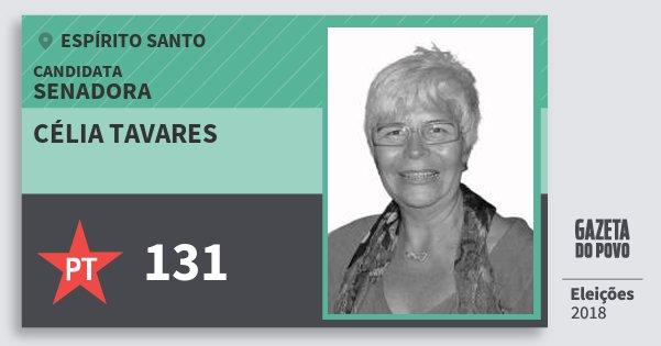 Santinho Célia Tavares 131 (PT) Senadora | Espírito Santo | Eleições 2018