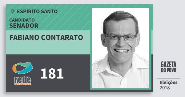 Santinho Fabiano Contarato 181 (REDE) Senador | Espírito Santo | Eleições 2018