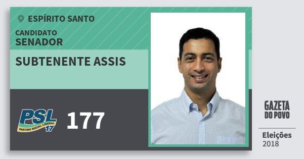 Santinho Subtenente Assis 177 (PSL) Senador | Espírito Santo | Eleições 2018