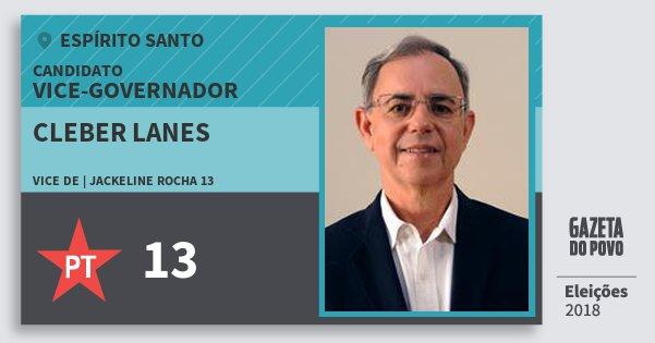 Santinho Cleber Lanes 13 (PT) Vice-governador | Espírito Santo | Eleições 2018