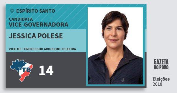 Santinho Jessica Polese 14 (PTB) Vice-Governadora   Espírito Santo   Eleições 2018