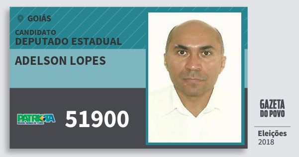 Santinho Adelson Lopes 51900 (PATRI) Deputado Estadual | Goiás | Eleições 2018