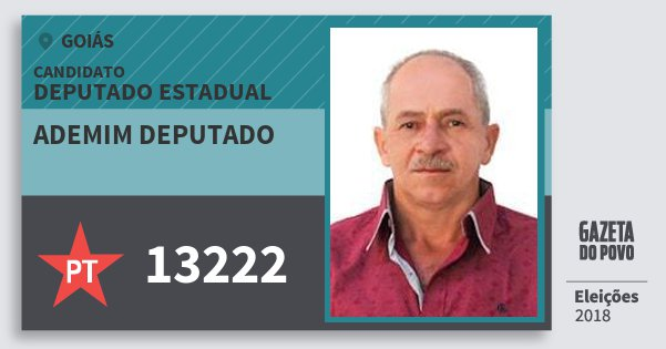 Santinho Ademim Deputado 13222 (PT) Deputado Estadual | Goiás | Eleições 2018