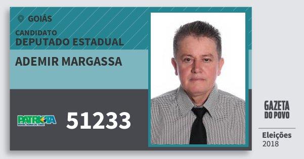 Santinho Ademir Margassa 51233 (PATRI) Deputado Estadual | Goiás | Eleições 2018
