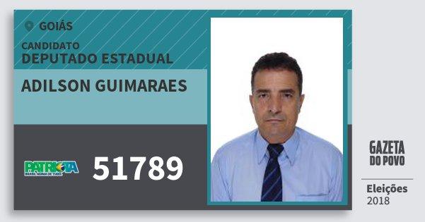 Santinho Adilson Guimaraes 51789 (PATRI) Deputado Estadual | Goiás | Eleições 2018