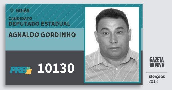 Santinho Agnaldo Gordinho 10130 (PRB) Deputado Estadual | Goiás | Eleições 2018