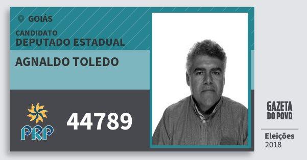 Santinho Agnaldo Toledo 44789 (PRP) Deputado Estadual | Goiás | Eleições 2018
